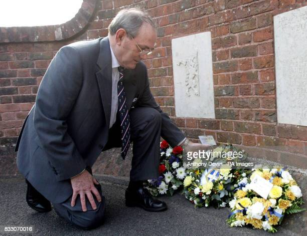 Captain Phil Roberts lays a wreath at a a Falklands Sir Galahad memorial service and wreath laying attended by survivors at St John The Apostle...