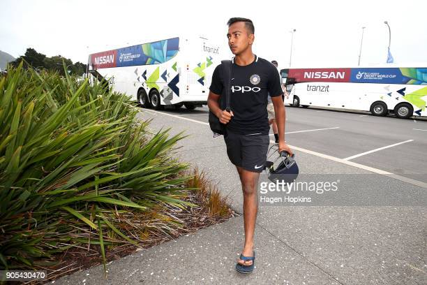 Captain Prithvi Shaw of India arrives during the ICC U19 Cricket World Cup match between India and Papua New Guinea at Bay Oval on January 16 2018 in...