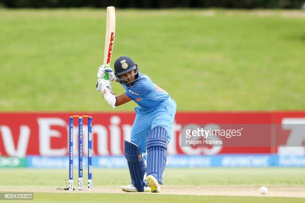 Captain Prithvi Shaw of India bats during the ICC U19 Cricket World Cup match between India and Papua New Guinea at Bay Oval on January 16 2018 in...