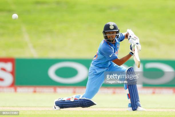 Captain Prithvi Shaw of India bats during the ICC U19 Cricket World Cup match between India and Papua New Guinea at Bay Oval on January 16, 2018 in...