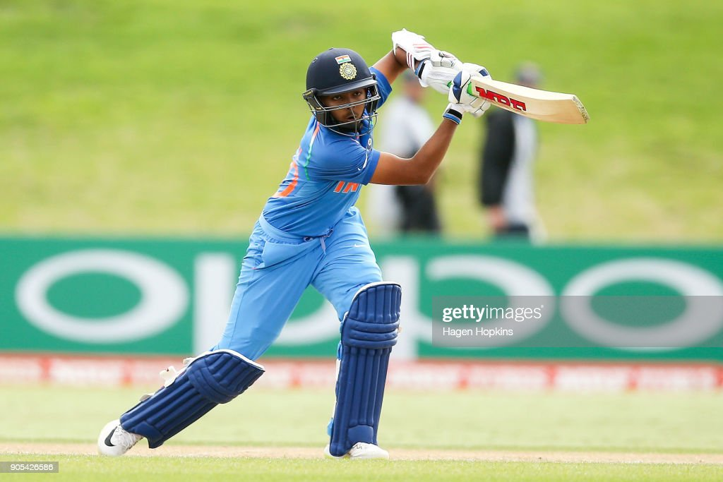 Captain Prithvi Shaw of India bats during the ICC U19 Cricket World Cup match between India and Papua New Guinea at Bay Oval on January 16, 2018 in Tauranga, New Zealand.