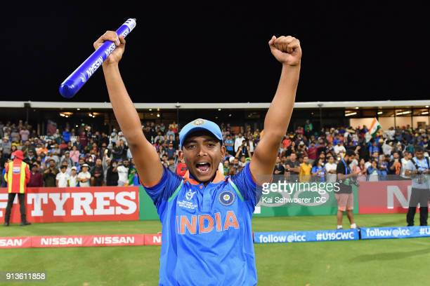 Captain Prithvi Shaw of India celebrates after the win in the ICC U19 Cricket World Cup Final match between Australia and India at Bay Oval on...