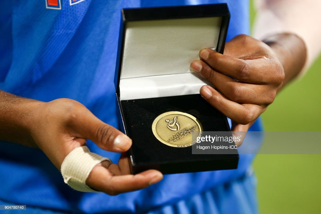 Captain Prithvi Shaw of India displays his man of the match medal during the ICC U19 Cricket World Cup match between India and Australia at Bay Oval on January 14, 2018 in Tauranga, New Zealand.
