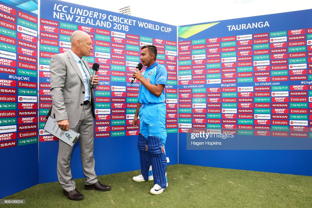 Captain Prithvi Shaw of India is interviewed by Danny Morrison during the ICC U19 Cricket World Cup match between India and Papua New Guinea at Bay Oval on January 16, 2018 in Tauranga, New Zealand.