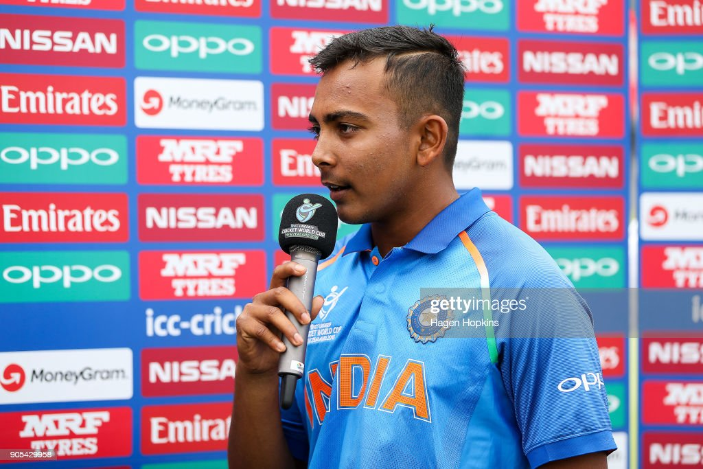 Captain Prithvi Shaw of India is interviewed during the ICC U19 Cricket World Cup match between India and Papua New Guinea at Bay Oval on January 16, 2018 in Tauranga, New Zealand.