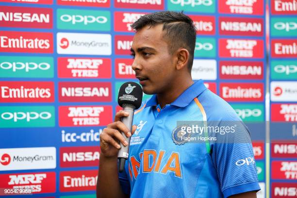 Captain Prithvi Shaw of India is interviewed during the ICC U19 Cricket World Cup match between India and Papua New Guinea at Bay Oval on January 16...