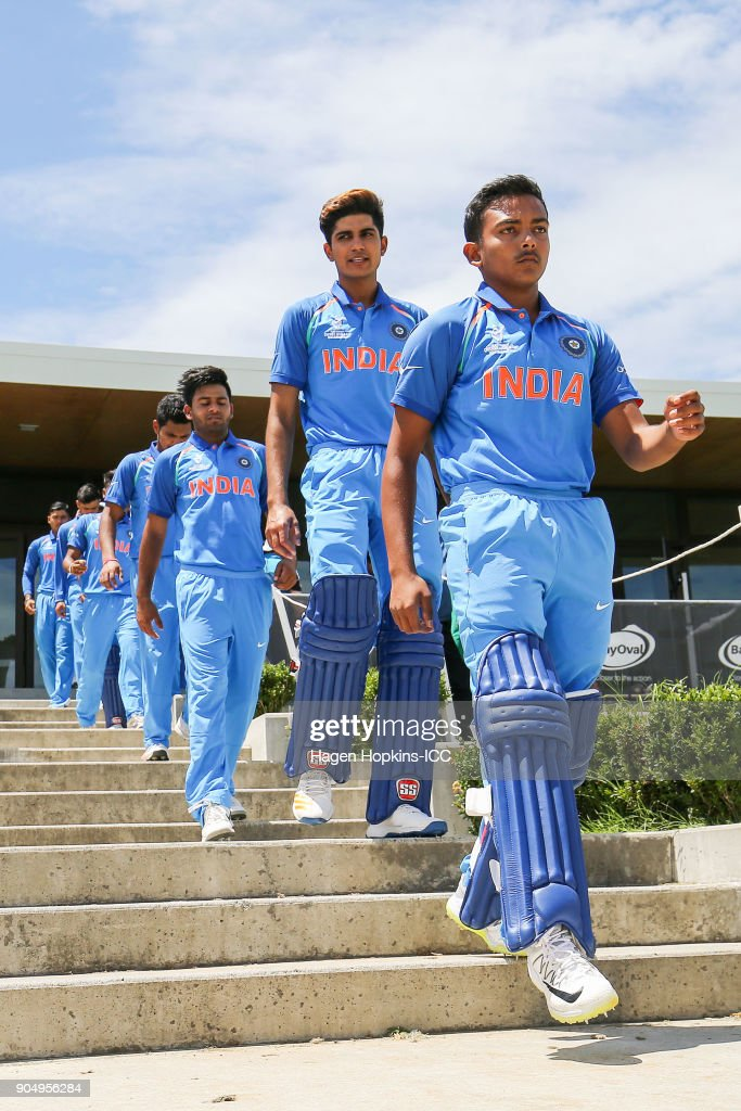 Captain Prithvi Shaw of India leads his team onto the field during the ICC U19 Cricket World Cup match between India and Australia at Bay Oval on January 14, 2018 in Tauranga, New Zealand.