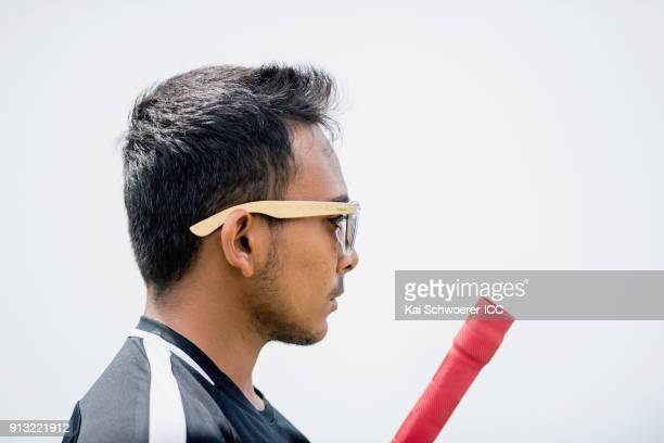 Captain Prithvi Shaw of India looks on during an India training session at Bay Oval on February 2 2018 in Tauranga New Zealand