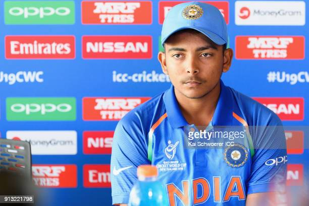 Captain Prithvi Shaw of India speaks to the media during a press conference prior to an India training session at Bay Oval on February 2 2018 in...