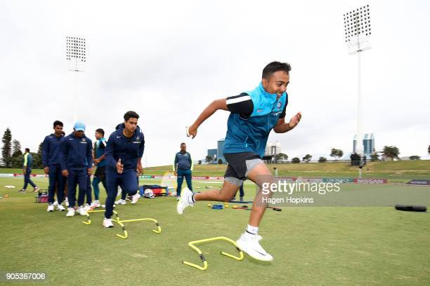 Captain Prithvi Shaw of India warms up during the ICC U19 Cricket World Cup match between India and Papua New Guinea at Bay Oval on January 16 2018...