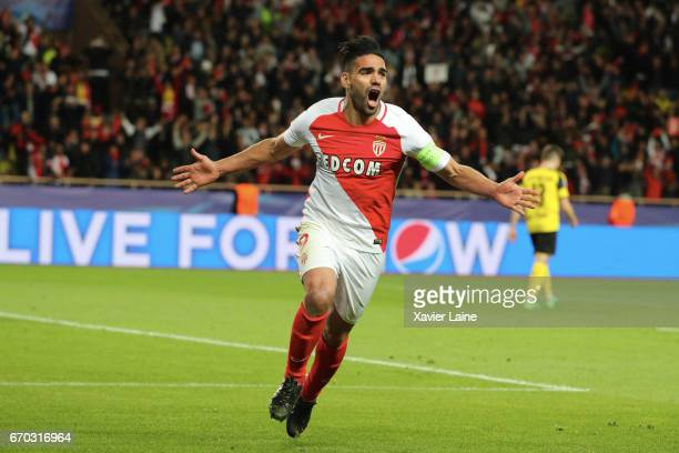 captain Radamel Falcao of AS Monaco celebrates his goal during the UEFA Champions League Quarter Final second leg between AS Monaco and Borussia...