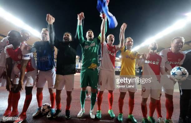 Captain Radamel Falcao of AS Monaco celebrates the victory with teammattes after the UEFA Champions League Quarter Final second leg between AS Monaco...