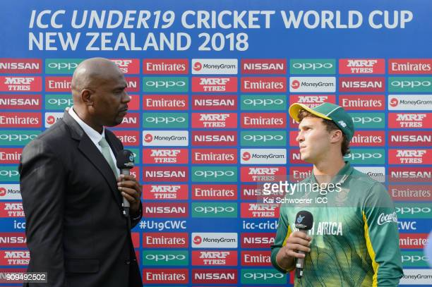Captain Raynard van Tonder of South Africa speaks to presenter Ian Bishop after the loss in the ICC U19 Cricket World Cup match between Pakistan and...