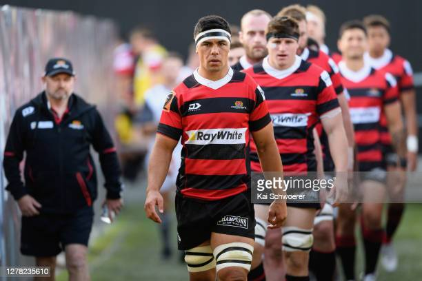 Captain Reed Prinsep of Canterbury leads his team onto the field prior to the round 4 Mitre 10 Cup match between Canterbury and Wellington at...