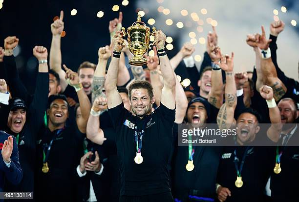 Captain Richie McCaw of New Zealand lifts the Webb Ellis Cup after winning the 2015 Rugby World Cup Final match between New Zealand and Australia at...