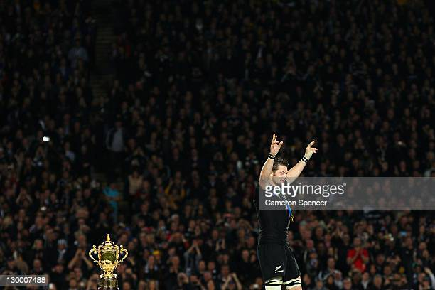Captain Richie McCaw of the All Blacks celebrates winning the 2011 IRB Rugby World Cup Final match between France and New Zealand at Eden Park on...