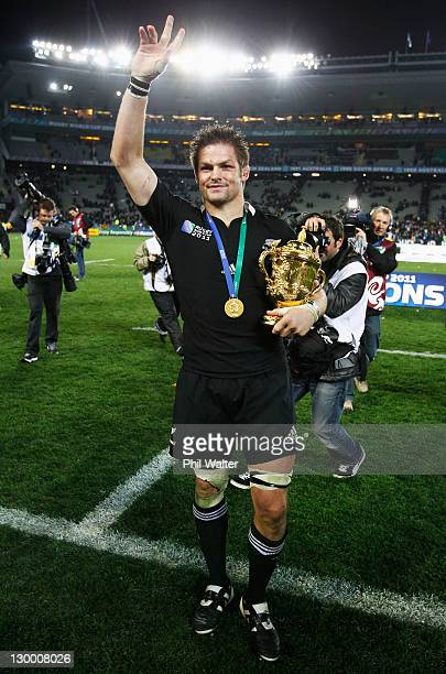 Captain Richie McCaw of the All Blacks holds the Webb Ellis Cup after the 2011 IRB Rugby World Cup Final match between France and New Zealand at Eden...