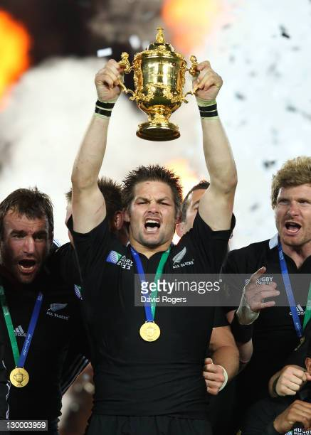 Captain Richie McCaw of the All Blacks lifts the Webb Ellis Cup after an 87 victory in during the 2011 IRB Rugby World Cup Final match between France...