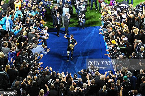 Captain Richie McCaw of the All Blacks lifts the Webb Ellis Cup to the fans after an 87 victory in during the 2011 IRB Rugby World Cup Final match...