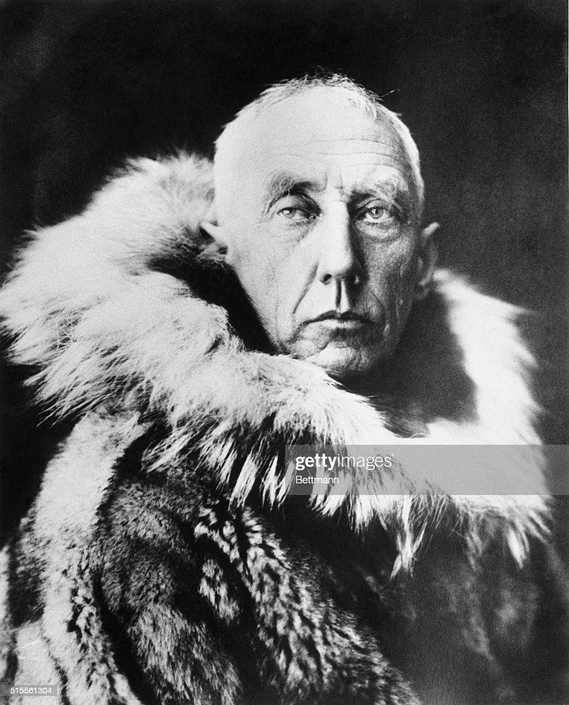 Captain Roald Amundsen wearing a fur parka.