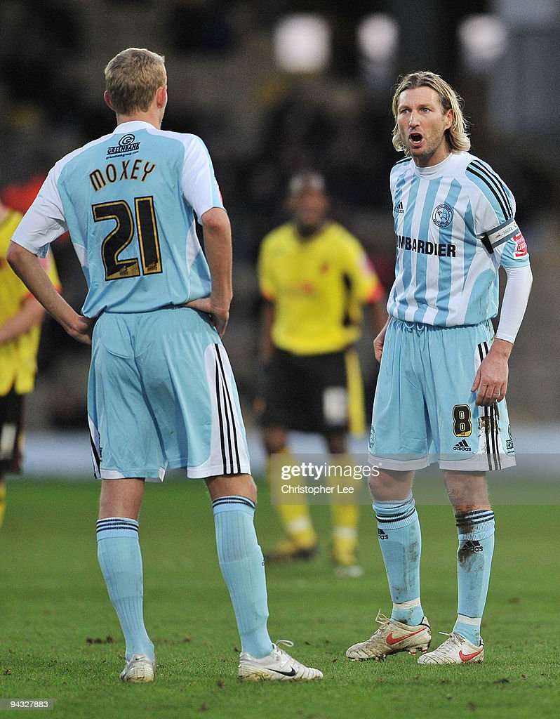 Captain Robbie Savage of Derby shouts instructions to Dean Moxey during the Coca-Cola Championship match between Watford and Derby County at Vicarage Road on December 12, 2009 in Watford, England.