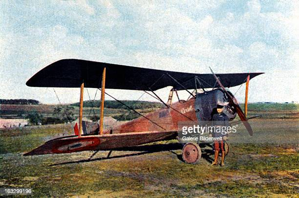 Captain Robert de Beauchamp alongside his British Sopwith fighter after returning from a bombing raid on Essen shortly before his death at Verdun...