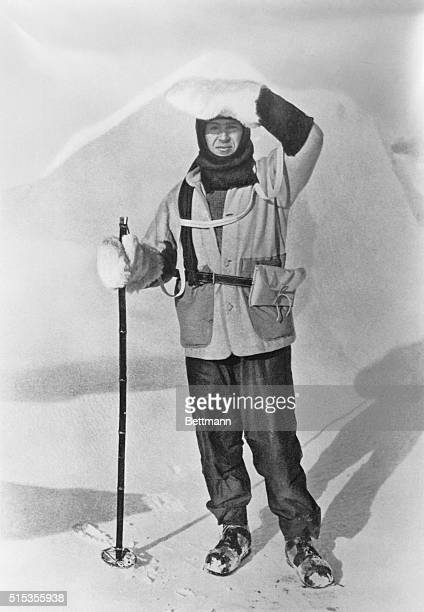 Captain Robert F Scott wearing the wallet in which he carried his sledging journals Scott's Last Expedition V1 L Huxley