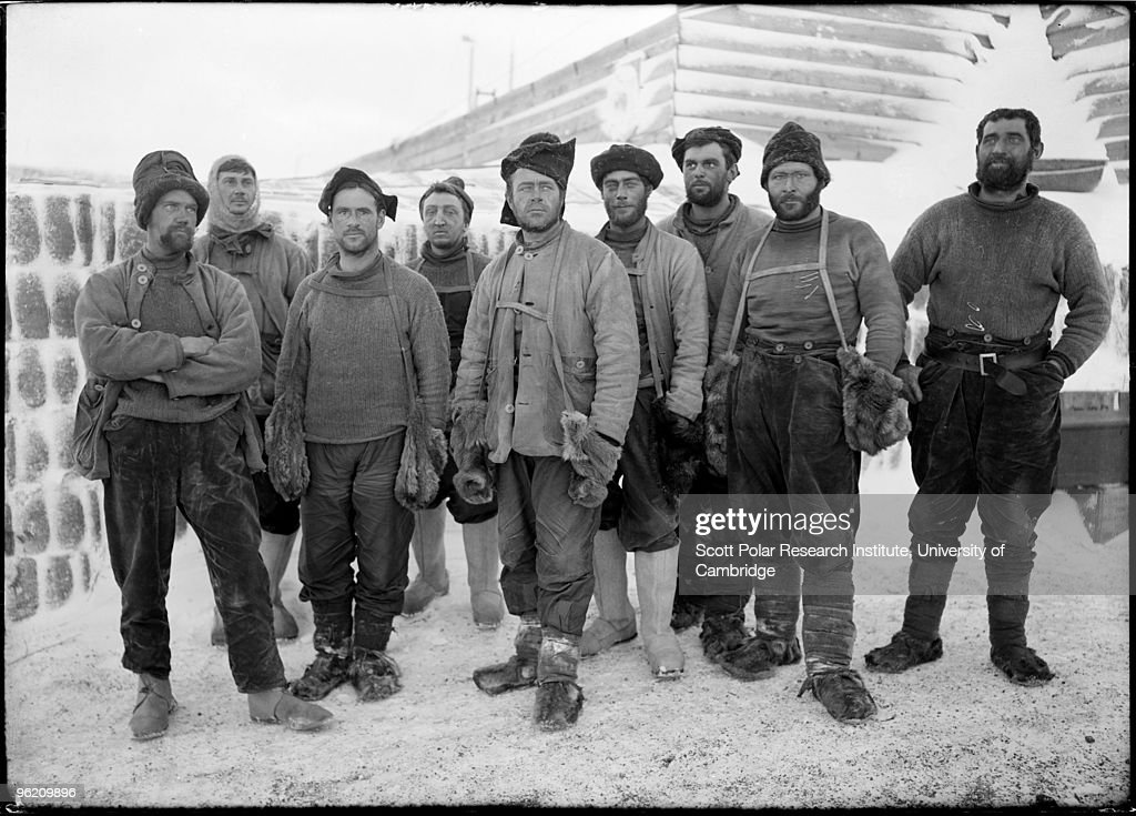 Captain Robert Falcon Scott (1868 - 1912) and eight other expedition members at camp in the Ross Dependency of Antarctica, during Scott's Terra Nova Expedition to the Antarctic, April 1911. They have just returned from the Southern Party's exploratary expedition.