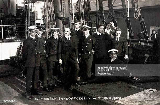 Captain Robert Falcon Scott and officers of the 'Terra Nova' which sailed to the Antarctic in 19101911