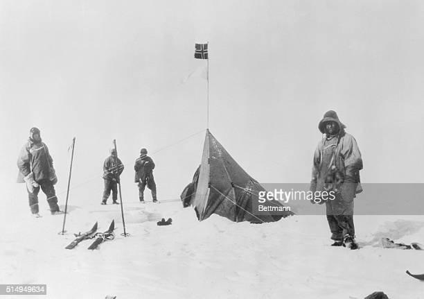 Captain Robert Falcon Scott and party on arrival at Amundsen's tent where they found the Norwegian's record showing he'd discovered the South Pole...