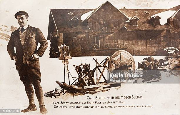 Captain Robert Falcon Scott with his motor sleigh in Antarctica His expedition reached the South Pole on January 18th 1912 but they died on the...