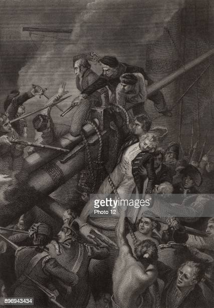 Captain Robert Faulknor English naval officer killed while endeavouring to lash the bowsprit of French frigate 'Pique' to capstan of his vessel...