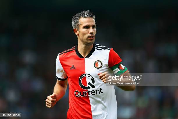 Captain Robin van Persie of Feyenoord in action during the Eredivisie match between De Graafschap and Feyenoord at Stadion De Vijverberg on August 12...