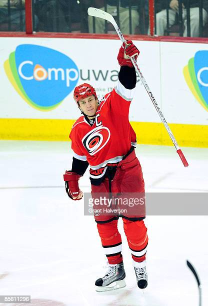 Captain Rod Brind'Amour of the Carolina Hurricanes celebrates after scoring a goal against the Ottawa Senators during the third period at the RBC...