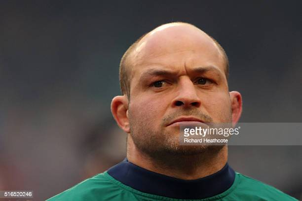 Captain Rory Best of Ireland looks on prior to kickoff during the RBS Six Nations match between Ireland and Scotland at the Aviva Stadium on March 19...