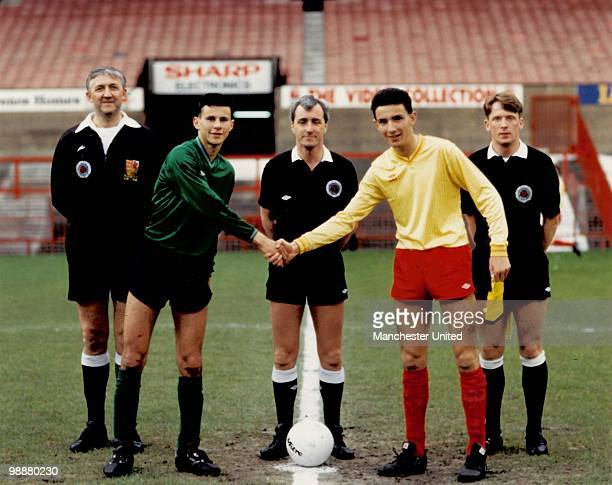 Captain Ryan Giggs poses before the ESFA Trophy Final 2nd Leg between Salford Schoolboys and St Helens on May 18 at Old Trafford, Manchester.