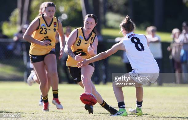 Captain Sabreena Duffy in action during the AFLW U18 Championships match between Vic Country and Western Australia at Bond University on July 13 2018...