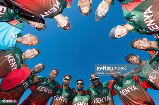 Captain Sachin Bhudia of Kenya and his team mates huddle prior to the ICC U19 Cricket World Cup match between South Africa and Kenya at Lincoln Green...