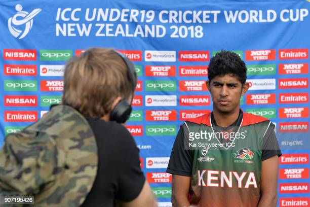 Captain Sachin Bhudia of Kenya speaks to the media prior to the ICC U19 Cricket World Cup match between the West Indies and Kenya at Lincoln Oval on...