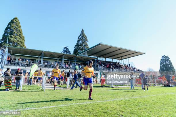 Captain Sam Sturgess of North Otago leads his team onto the field prior to the round two Heartland Championship match between Mid Canterbury and...
