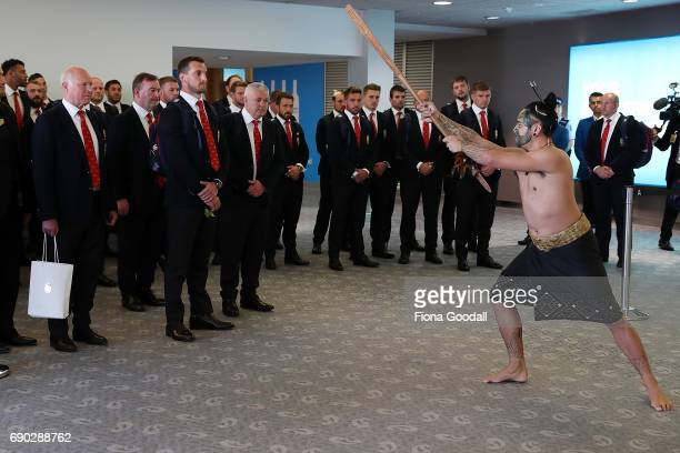 Captain Sam Warburton of the British Irish Lions accepts a traditional challenge as part of the welcome as the team arrives at Auckland International...