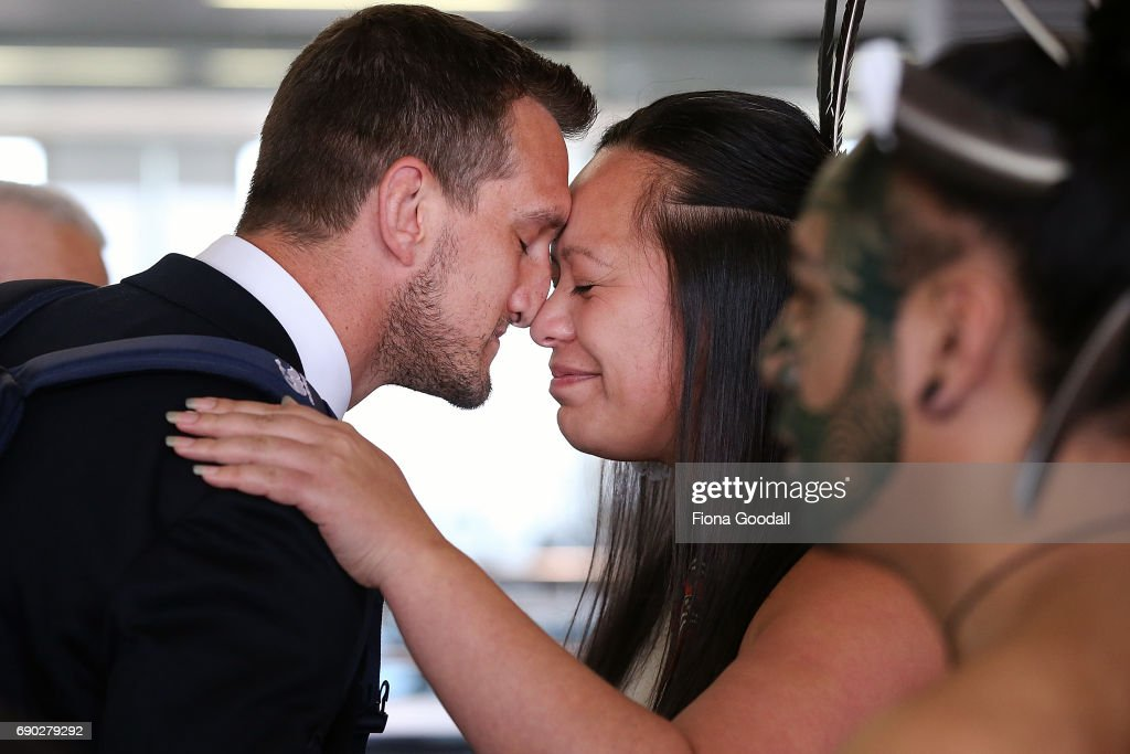 Captain Sam Warburton (L) of the British & Irish Lions receives a hongi in welcome as the tream arrives at Auckland International Airport on May 31, 2017 in Auckland, New Zealand.