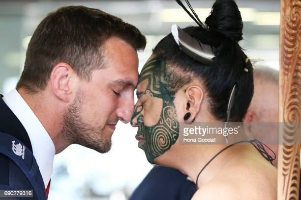 Captain Sam Warburton of the British Irish Lions receives a hongi in welcome as the tream arrives at Auckland International Airport on May 31 2017 in...