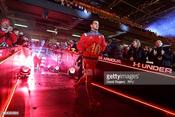 Captain Sam Warburton of Wales leads out his team as he wins his 50th cap during the RBS Six Nations match between Wales and England at the...