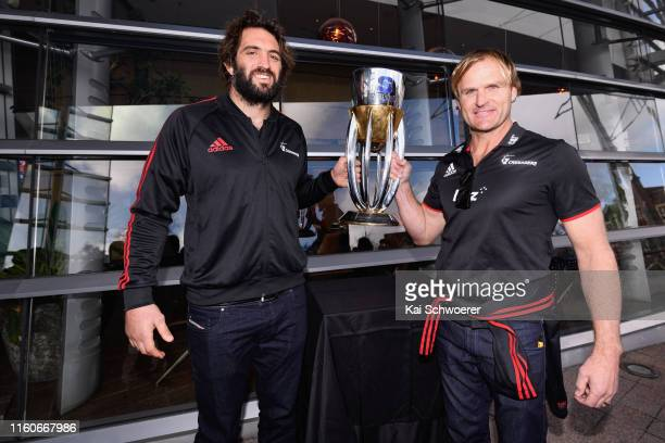 Captain Samuel Whitelock and Head Coach Scott Robertson of the Crusaders pose with the Super Rugby trophy during the civic reception for the 2019...