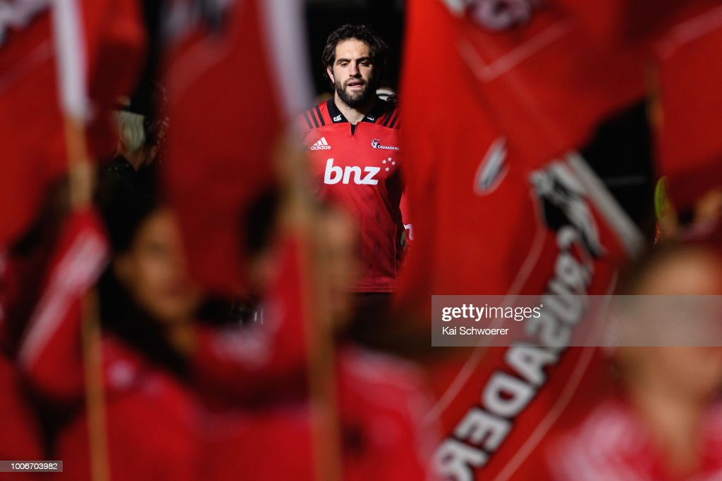 Captain Samuel Whitelock of the Crusaders leads his team onto the field prior to the Super Rugby Semi Final match between the Crusaders and the Hurricanes at AMI Stadium on July 28, 2018 in Christchurch, New Zealand.