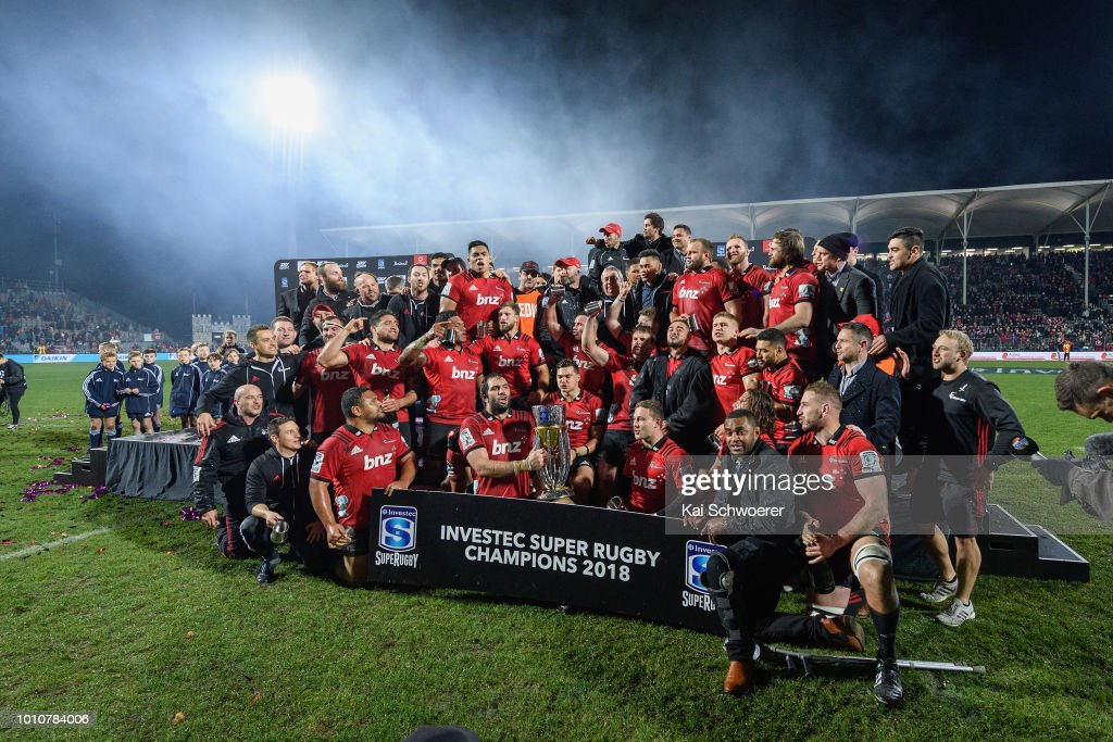 Captain Samuel Whitelock of the Crusaders lifts the Super Rugby Trophy after the win in the Super Rugby Final match between the Crusaders and the Lions at AMI Stadium on August 4, 2018 in Christchurch, New Zealand.