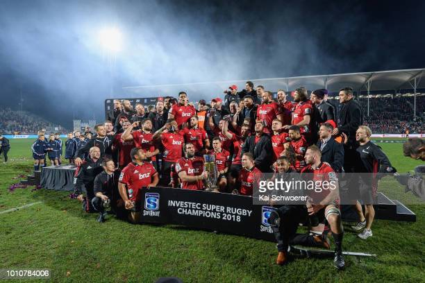 Captain Samuel Whitelock of the Crusaders lifts the Super Rugby Trophy after the win in the Super Rugby Final match between the Crusaders and the...
