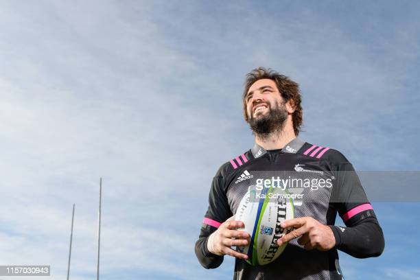 Captain Samuel Whitelock poses prior to a Crusaders Super Rugby Captain's Run at Orangetheory Stadium on June 20, 2019 in Christchurch, New Zealand.
