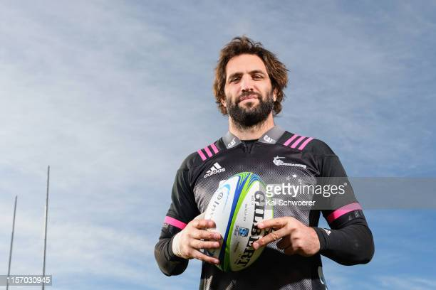 Captain Samuel Whitelock poses prior to a Crusaders Super Rugby Captain's Run at Orangetheory Stadium on June 20 2019 in Christchurch New Zealand